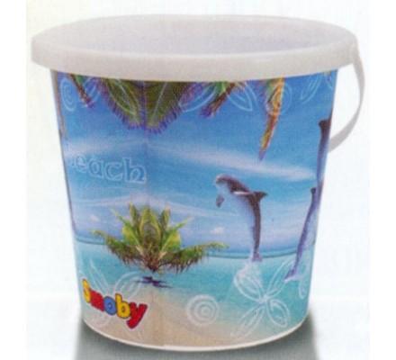Seau de plage 21 cm / Décor dauphins