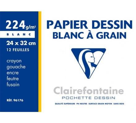 Papier dessin 24x32 - 12 feuilles - 224 g