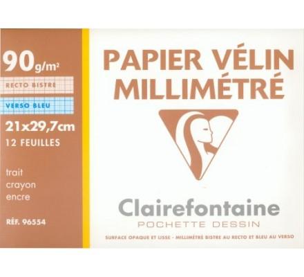 Papier millimétré A4 - 12 feuilles - 90 g