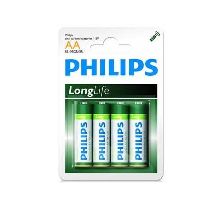 4 piles Saline Philips R6 = AA
