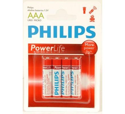 4 piles Alkaline Philips LR03 = AAA