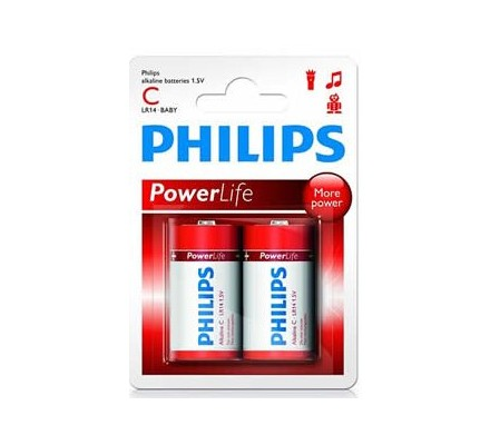 2 piles Alkaline Philips R14