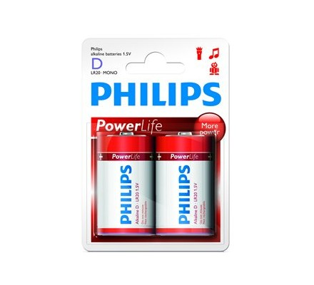 2 piles Alkaline Philips R20