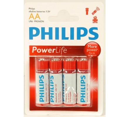 4 piles Alkaline Philips R6 = AA