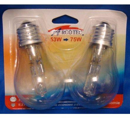 2 ampoules halogènes E27 / 53 W = 75 W