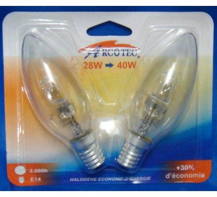 2 ampoules halogènes E14 / 28 W = 40 W