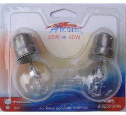 2 ampoules halogènes B22 28 w => 40 w