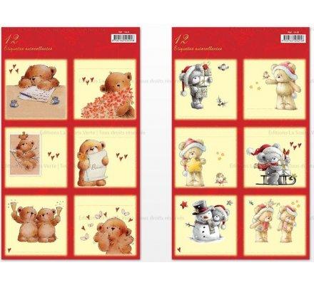 12 étiquettes autocollantes / Thème Noël