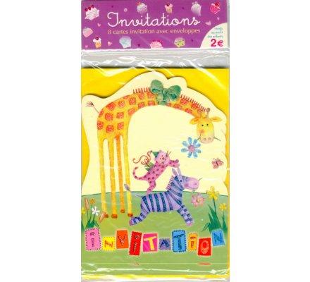 8 cartes d'invitation pour anniversaire / Thème ''cirque''
