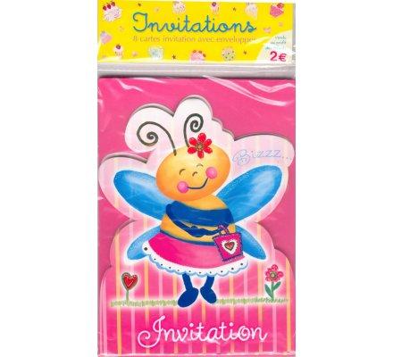 8 cartes d'invitation pour anniversaire / Thème ''abeille''
