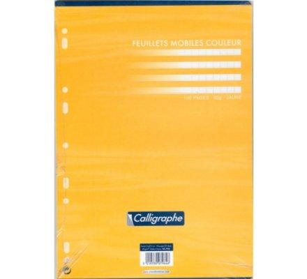 Feuillets mobiles A4 - jaune - 100 p - séyès