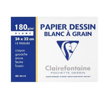 Papier dessin 24x32 - 12 feuilles - 180 g