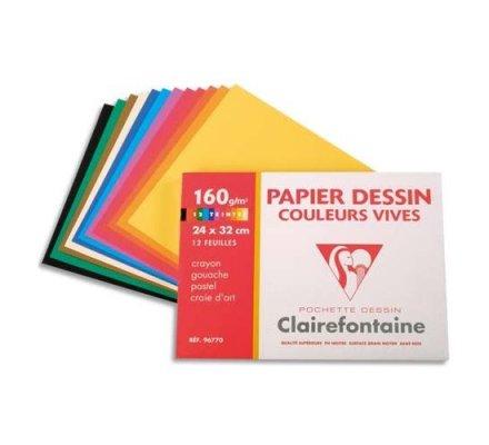 Papier dessin couleurs vives 24x32 - 12 feuilles - 160 g.
