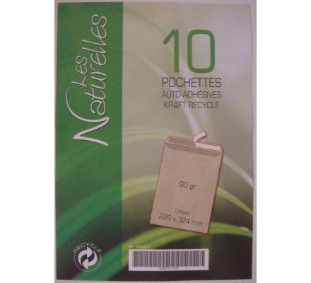 Lot de 10 enveloppes kraft recyclé 229x324mm