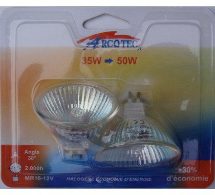 2 Ampoules halogènes MR16 45 x 50 mm