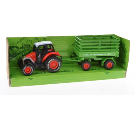 Tracteur métal  + remorque / 22 cm