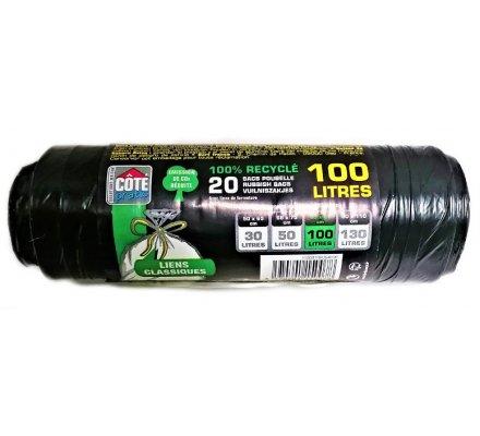 Sacs poubelle 100 L x 20 (en rouleau)