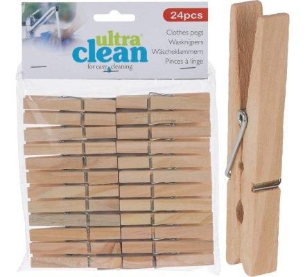 24 pinces à linge en bois.
