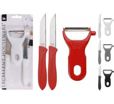 Ensemble 1 économe + 2 couteaux