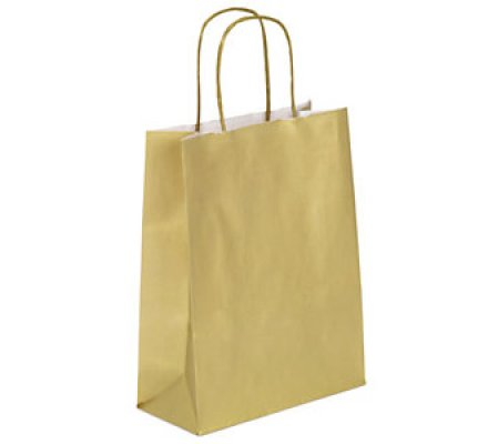 25 sacs cadeaux kraft or