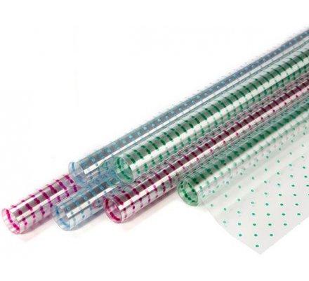 Papier cadeau transparent à motifs pointtillés colorés 1.50x0.70m