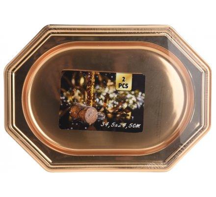 Lot de 2 plateaux rectangulaires dorés - 34,5x24,5 cm