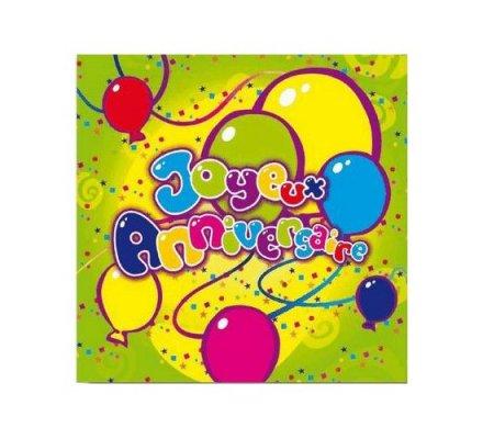 Serviettes en papier x 20 ''joyeux anniversaire''