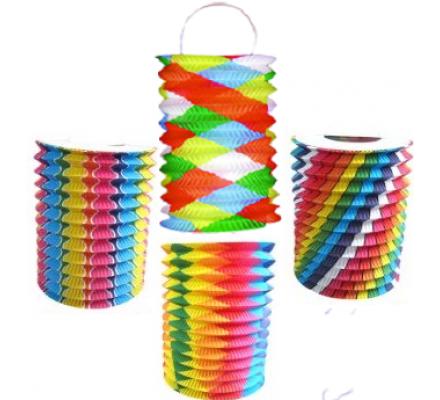 Lampion bariolé 16 cm