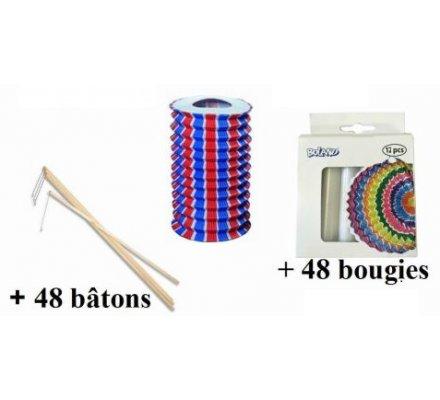 Assortiment de 48 lampions tricolore + 48 bougies + 48 bâtons