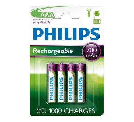 4 Piles Philips LR03 rechargeables 700 mAh
