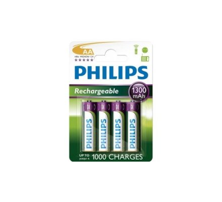 4 piles rechargeables AA 1300 mAH Philips