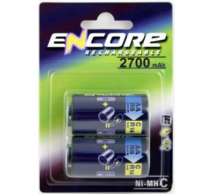 2 piles rechargeables R14 / 2700 mAh