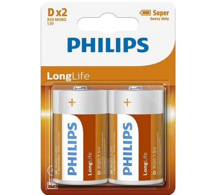2 piles Long Life Philips R20