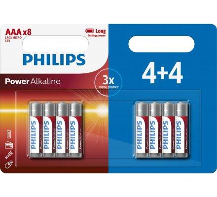 PILES LR03 Alkaline Philips x 4+4