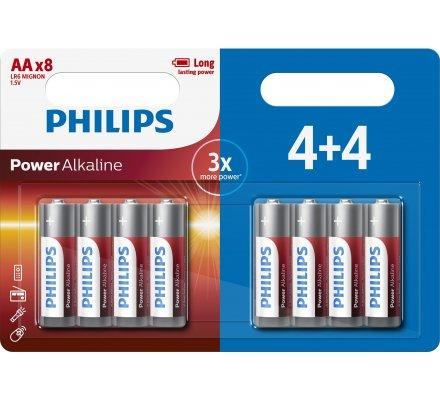 PILES LR6 ALKALINE PHILIPS X 4+4