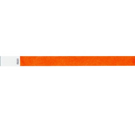 100 bracelets d'identification ''tyvek'' / orange fluo