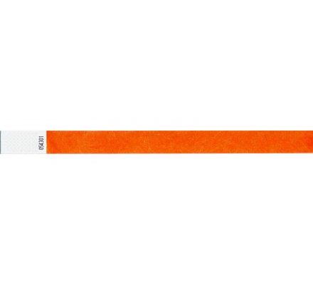 100 bracelets d'identification ''tyvek'' / orange fluo