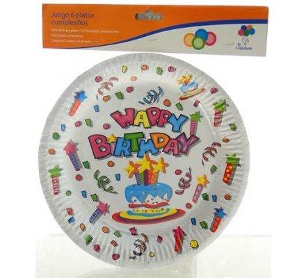 6 assiettes carton anniversaire
