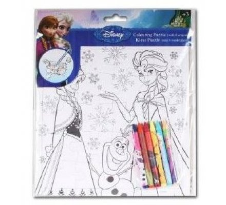 Puzzle à colorier Frozen + 6 crayons