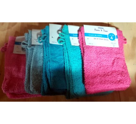 Lot de 4 gants de toilette