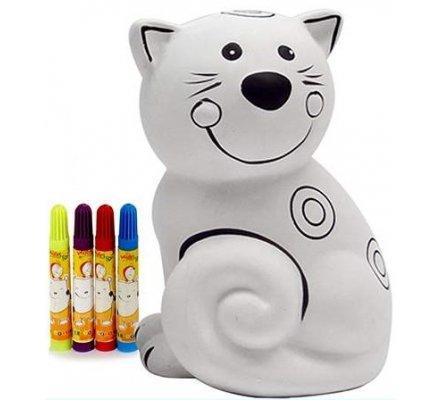 Tirelire chat à colorier